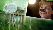 Angela Merkel grinst. Im Hintergrund ein Lichtkegel. © dpa Picture Alliance