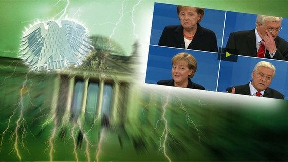 NDR Montage: Angela Merkel und Frank Walter Steinmeier vor dem Reichstag in Berlin © Fotolia.com / Fotograf: Roadrunner / picture alliance/Sammy Minkoff / Okapia KG Fotograf: Nathalie Dautel / imago Fotograf: Sven Simon