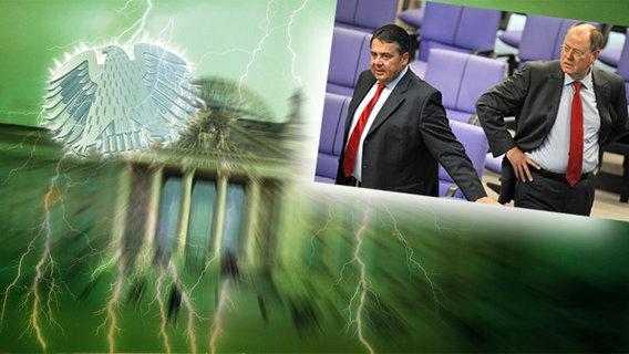 Bildcollage Bundestag mit Adler und Peer Steinbrück mit Sigmar Gabriel  Foto:  Reichstag: NDR / Fotograf: Christine Raczka, Steinbrück und Gabriel: Rainer Jensen