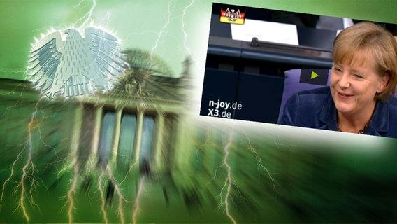 Montage: Angela Merkel vor dem Brandenburger Tor. © NDR/dpa Foto: Screenshot aus XTRA3-Film