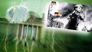 """Bildmontage: Ein Monster mit einem Merkelkopf zertrümmert eine Stadt. Das Foto ist eingebettet im """"Neulich im Bundestag""""-Bild, das das Brandenburger Tor und den Bundesadler zeigt. © NDR Foto: Screenshot"""