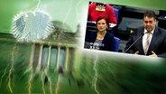 """Bildmontage: Politiker Sigmar Gabriel hält im Bundestag eine Rede. Das Foto ist eingebettet im """"Neulich im Bundestag""""-Bild, das das Brandenburger Tor und den Bundesadler zeigt. © NDR Foto: Screenshot"""