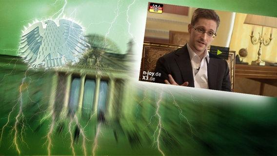 """Bildmontage: Whistleblower Edward Snowden bei seinem Interview. Das Foto ist eingebettet im """"Neulich im Bundestag""""-Bild, das das Brandenburger Tor und den Bundesadler zeigt."""