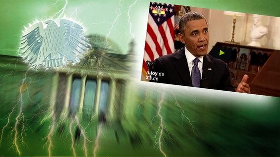 """Bildmontage: US-Präsident Obama bei einem Interview. Das Foto ist eingebettet im """"Neulich im Bundestag""""-Bild, das das Brandenburger Tor und den Bundesadler zeigt."""