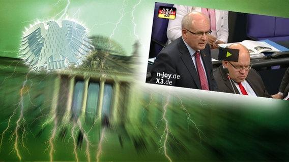 """Bildmontage: Drei Politiker im Bundestag. Das Foto ist eingebettet im """"Neulich im Bundestag""""-Bild, das das Brandenburger Tor und den Bundesadler zeigt. © NDR Foto: Screenshot"""