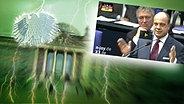 """Bildmontage: Ein Politiker redet im Bundestag. Das Foto ist eingebettet im """"Neulich im Bundestag""""-Bild, das das Brandenburger Tor und den Bundesadler zeigt. © NDR Foto: Screenshot"""