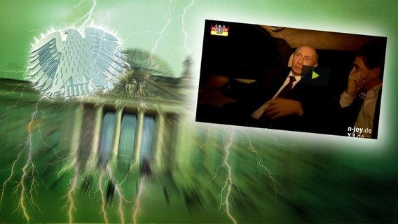 """Bildmontage: Wladimir Putin sitzt in einem Auto. Das Foto ist eingebettet im """"Neulich im Bundestag""""-Bild, das das Brandenburger Tor und den Bundesadler zeigt. © NDR Foto: Screenshot"""