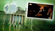 """Bildmontage: Wladimir Putin sitzt in einem Auto. Das Foto ist eingebettet im """"Neulich im Bundestag""""-Bild, das das Brandenburger Tor und den Bundesadler zeigt. © NDR Fotograf: Screenshot"""