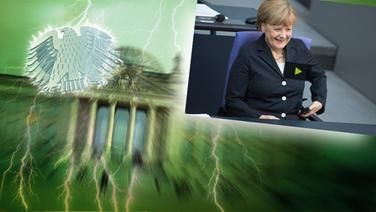 """Bildmontage: Angela Merkel lacht im Bundestag. Das Foto ist eingebettet im """"Neulich im Bundestag""""-Bild, das das Brandenburger Tor und den Bundesadler zeigt. © picture alliance / Fotolia.com Fotograf: Adler: Fotolia.com / Fotograf: Roadrunner, Blitz: picture alliance / Okapia KG Fotograf: Nathalie Dautel, Reichstag: NDR / Fotograf: Christine Raczka  / Merkel: Maurizio Gambarini/dpa"""