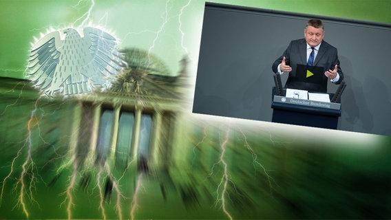 """Bildmontage: Hermann Gröhe am Rednerpult - gepaart mit dem Themenbild zu """"Neu im Bundestag"""""""