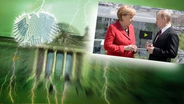 """Bildmontage: Merkel und Putin auf der Dachterasse - gepaart mit dem Themenbild zu """"Neu im Bundestag"""". © NDR /  picture alliance / dpa / Fotograf: Screenshot"""