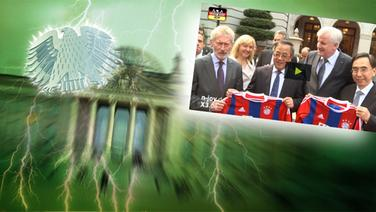 """Bildmontage: Seehofer und Breitner in China - gepaart mit dem Themenbild zu """"Neu im Bundestag"""". © NDR /  picture alliance / dpa / Foto: Screenshot"""