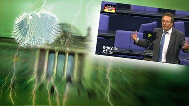 """Das Themenbild zur Comedyrubrik """"Neulich im Bundestag"""" zeigt eine Collage aus dem Brandenburgertor, dem Bundesadler und einem Redner im Plenum. © NDR /  picture alliance / dpa / Fotograf: Screenshot"""