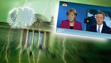 """Das Themenbild zur Comedyrubrik """"Neulich im Bundestag"""" zeigt eine Collage aus dem Brandenburgertor, dem Bundesadler sowie einen Auschnitt aus dem TV-Interview zwischen Frau Merkel und Herrn Cleber. © NDR /  picture alliance / dpa / Fotograf: Screenshot"""