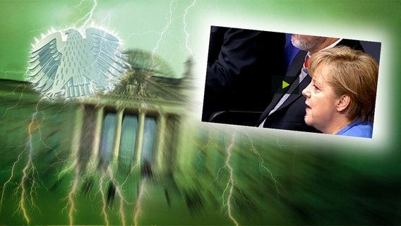 """Das Themenbild zur Comedyrubrik """"Neulich im Bundestag"""" zeigt eine Collage aus dem Brandenburgertor, dem Bundesadler sowie Angela Merkel im Bundestag. © NDR /  picture alliance / dpa / Foto: Screenshot"""