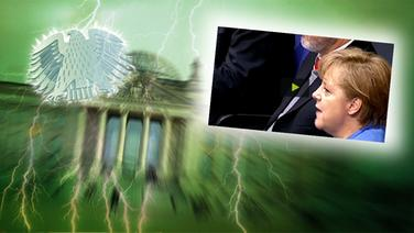 """Das Themenbild zur Comedyrubrik """"Neulich im Bundestag"""" zeigt eine Collage aus dem Brandenburgertor, dem Bundesadler sowie Angela Merkel im Bundestag. © NDR /  picture alliance / dpa / Fotograf: Screenshot"""