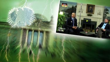 """Das Themenbild zur Comedyrubrik """"Neulich im Bundestag"""" zeigt eine Collage aus dem Brandenburgertor, dem Bundesadler sowie Barack Obama im Gespräch mit einem Schauspieler. © NDR /  picture alliance / dpa / Fotograf: Screenshot"""
