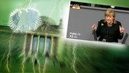 """Das Themenbild zur Comedyrubrik """"Neulich im Bundestag"""" zeigt eine Collage aus dem Brandenburgertor, dem Bundesadler sowie Angela Merkel bei einer Rede im Bundestag. © NDR /  picture alliance / dpa / Foto: Screenshot"""
