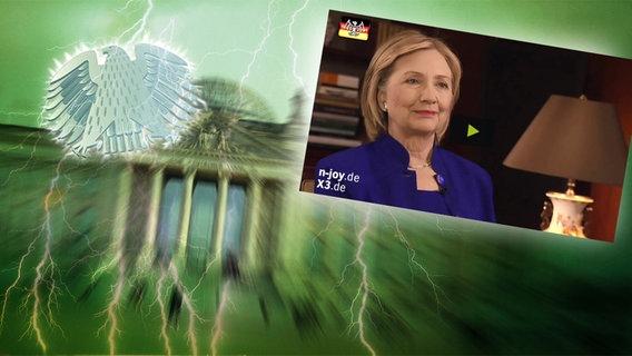 """Das Themenbild zur Comedyrubrik """"Neulich im Bundestag"""" zeigt eine Collage aus dem Brandenburgertor, dem Bundesadler sowie Hillary Clinton im Interview."""