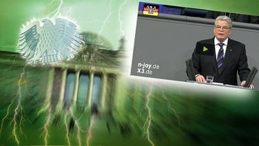 """Das Themenbild zur Comedyrubrik """"Neulich im Bundestag"""" zeigt eine Collage aus dem Brandenburgertor, dem Bundesadler sowie Joachim Gauck bei einer Rede im Bundestag. © NDR /  picture alliance / dpa / Fotograf: Screenshot"""