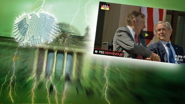 """Das Themenbild zur Comedyrubrik """"Neulich im Bundestag"""" zeigt eine Collage aus dem Brandenburgertor, dem Bundesadler sowie George Bush Senior und Junior. © NDR /  picture alliance / dpa / Fotograf: Screenshot"""