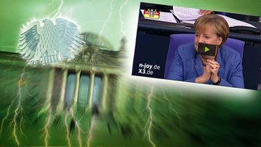 "Das Themenbild zur Comedyrubrik ""Neulich im Bundestag"" zeigt eine Collage aus dem Brandenburgertor, dem Bundesadler sowie Angela Merkel. © NDR /  picture alliance / dpa / Foto: Screenshot"