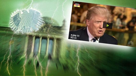 """Das Themenbild zur Comedyrubrik """"Neulich im Bundestag"""" zeigt eine Collage aus dem Brandenburgertor, dem Bundesadler sowie Donald Trump."""