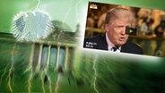 """Das Themenbild zur Comedyrubrik """"Neulich im Bundestag"""" zeigt eine Collage aus dem Brandenburgertor, dem Bundesadler sowie Donald Trump. © NDR /  picture alliance / dpa / Fotograf: Screenshot"""