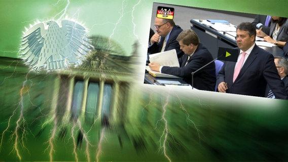 """Das Themenbild zur Comedyrubrik """"Neulich im Bundestag"""" zeigt eine Collage aus dem Brandenburgertor, dem Bundesadler sowie Sigmar Gabriel."""