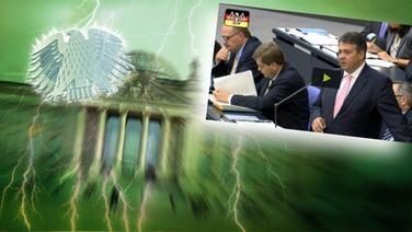 """Das Themenbild zur Comedyrubrik """"Neulich im Bundestag"""" zeigt eine Collage aus dem Brandenburgertor, dem Bundesadler sowie Sigmar Gabriel. © NDR /  picture alliance / dpa / Fotograf: Screenshot"""