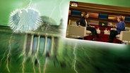 """Das Themenbild zur Comedyrubrik """"Neulich im Bundestag"""" zeigt eine Collage aus dem Brandenburgertor, dem Bundesadler sowie einem Foto von Anne Will und Angela Merkel. © NDR /  picture alliance / dpa / Fotograf: Screenshot"""