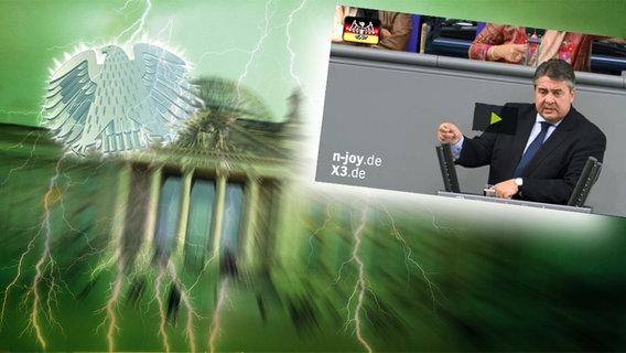 """Das Themenbild zur Comedyrubrik """"Neulich im Bundestag"""" zeigt eine Collage aus dem Brandenburgertor, dem Bundesadler sowie einem Foto von Sigmar Gabriel. © NDR /  picture alliance / dpa / Foto: Screenshot"""