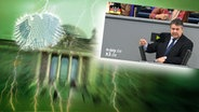 """Das Themenbild zur Comedyrubrik """"Neulich im Bundestag"""" zeigt eine Collage aus dem Brandenburgertor, dem Bundesadler sowie einem Foto von Sigmar Gabriel. © NDR /  picture alliance / dpa / Fotograf: Screenshot"""