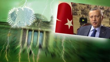"""Das Themenbild zur Comedyrubrik """"Neulich im Bundestag"""" zeigt eine Collage aus dem Brandenburgertor, dem Bundesadler sowie einem Foto des türkischen Präsidenten Recep Tayyip Erdogan. © NDR /  picture alliance / dpa / Foto: Screenshot"""