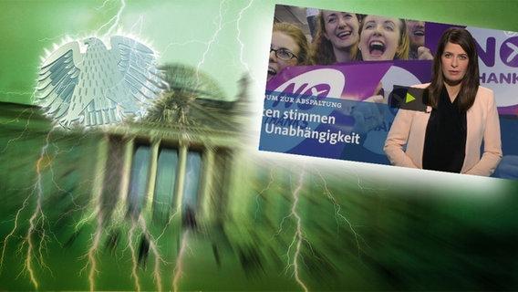 Screenshot aus dem Video Neulich im Bundestag (121) © picture alliance / Fotolia.com Foto: Adler: Fotolia.com / Fotograf: Roadrunner, Blitz: picture alliance / Okapia KG Fotograf: Nathalie Dautel, Reichstag: NDR / Fotograf: Christine Raczka