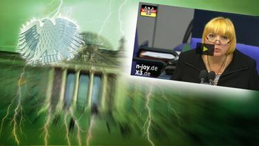 Screenshot aus dem Video Neulich im Bundestag (124). © picture alliance / Fotolia.com Foto: Adler: Fotolia.com / Fotograf: Roadrunner, Blitz: picture alliance / Okapia KG Fotograf: Nathalie Dautel, Reichstag: NDR / Fotograf: Christine Raczka