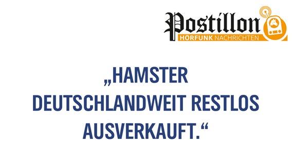 """Eine Tafel mit der Aufschrift: """"Hamster deutschlandweit restlos ausverkauft."""" © N-JOY"""