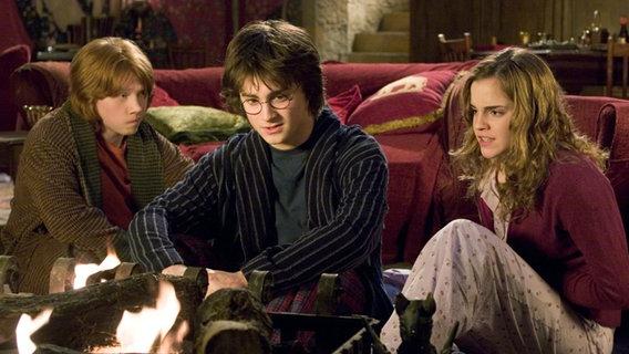 """Daniel Radcliffe als Harry Potter, Rupert Grint als sein bester Freund Ron und Emma Watson als Bücherwurm Hermine in einer Szene aus dem Film """"Harry Potter und der Feuerkelch"""": Die drei sitzen auf einem Sofa und starren auf ein Feuer. © dpa - Bildfunk Foto: dpa-Film Warner"""