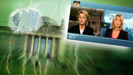 """Bildmontage: Ulrike von der Leyen im Interview mit Marietta Slomka im Bundestag. Das Foto ist eingebettet im """"Neulich im Bundestag""""-Bild, das das Brandenburger Tor und den Bundesadler zeigt."""