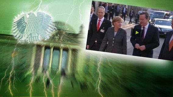 """Bildmontage: Angela Merkel läuft neben David Cameron und Stephan Weil. Das Foto ist eingebettet im """"Neulich im Bundestag""""-Bild, das das Brandenburger Tor und den Bundesadler zeigt. © NDR Foto: Screenshot"""