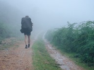 Zu sehen ist ein Mann mit Rucksack, der durch eine nebelige Landschaft wandert. © picapau / photocase.de Fotograf: picapau