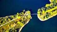 Eine Verbindungsbrücke aus der Vogelperspektive. © imago/flight-pictures