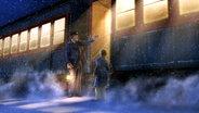 Szene aus Polarexpress. Der Schaffner bittet einen Jungen einzusteigen. © dpa picture alliance