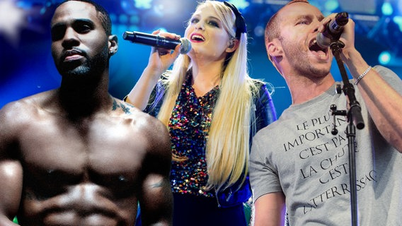 Jason Derulo, Meghan Trainor und Marlon Roudette (Bildmontage) © Warner Music, picture alliance/ZUMAPRESS.com, Sony Music/Robert Winter,imago stock&people Fotograf: imago/Revierfoto