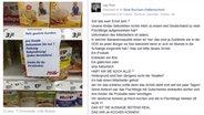 Foto eines Facebook-Postings. Es zeigt ein Regal mit dem Hinweisschild, dass pro Kunde nur eine Babynahrungspackung gekauft werden darf. Das wurde genutzt, um mit einer Lüge angereichert Stimmung gegen Flüchtlinge zu verbreiten. © NDR Fotograf: Screenshot