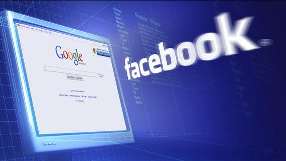 Schwebender Bildschirm mit Google-Seite und dem facebook-Schriftzug (Montage) © iStockphoto Foto: Petrovich9