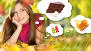 Eine Frau träumt im Herbst von Torte, Chips und Gummibärchen. © fotolia Foto: Patrizia Tilly, unpict, ToGoPhoto, Smileus, Galaiko Sergey
