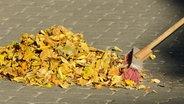 Ein Besen kehrt einen Haufen Laub zusammen. © Fotolia/Finkenherd