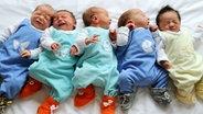 Fünf Babys liegen nebeneinander. © picture alliance / Waltraud Grubitzsch/dpa-Zentralbild/dpa Foto: Waltraud Grubitzsch