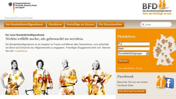 Die Homepage des Bundesfreiwilligendienst © NDR Foto: Screenshot